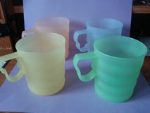 set of four tupperware impressions 12oz mugs/ cups pastel grn bl ylw peach #3574 in Orland Park, Illinois