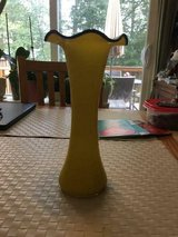 Antique Two-Toned Yellow on White Glass Vase with Black Fluted edge in Fort Belvoir, Virginia