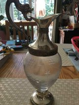 Glass Wine Claret Jug Silver Plate Italian Distillerie Buton Bologna Italia in Fort Belvoir, Virginia