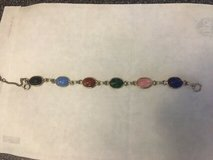 Beautiful Gold Toned Link Bracelet with Colorful Scarab Beetle Stones in Fort Belvoir, Virginia