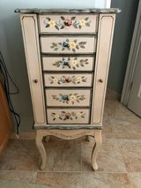 Gorgeous Standing Jewelry Armoire with Floral Painting on Top and Drawers in Quantico, Virginia