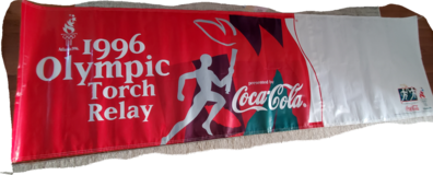 1996 Olympic Torch Relay Banner 9 ft 11.6 in x 34 in Sponsored by Coca Cola in Fort Belvoir, Virginia