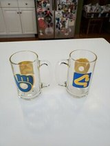 Vintage Authentic Promo 1980's MILWAUKEE BREWERS Channel 4 TMJ4 Glass Mugs Qty 2 in Brookfield, Wisconsin