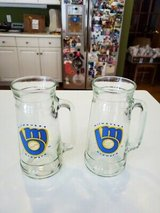 """Qty """"2"""" Authentic Vintage 1980's MILWAUKEE BREWERS Baseball Glass Contour Mugs!! in Brookfield, Wisconsin"""