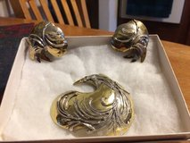Reduced.. ... Vintage RUTH ROSENFELD Brass and Silver Earrings in Naperville, Illinois