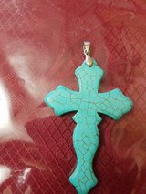"Beautiful Genuine HOWLITE Stone Turquoise Cross Pendant (without Chain)! 3 1/2"" x 2"" in Bellaire, Texas"