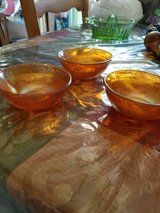 Vintage Small Amber Iridescent Fruit Bowls! Pretty Etched Design No chips or cracks. in Bellaire, Texas