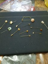 12 mixed lot vtg stick pins!  sand dollar, heart, g initial, brown stone, etc in Bellaire, Texas