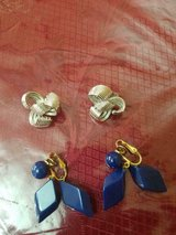2 Pair of Vintage Signed TRIFARI Clip Earrings!  Blue Pair + Silver Tone Pair! in Bellaire, Texas