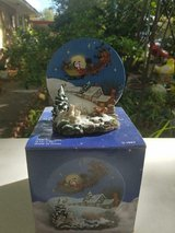 """Handcrafted """"A Christmas Remembered"""" Santa Sleigh & Reindeers Plate & Stand. in Bellaire, Texas"""