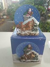 """Handcrafted """"A Christmas Remembered"""" Santa on Chimney Plate & Stand. in Bellaire, Texas"""