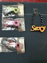 """New Mixed Lot of 4 Colorful """"SEXY"""" Bracelets! Red, Yellow, Green, Pink! Unique in Spring, Texas"""