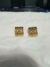Vintage GIVENCHY Signed Gold Tone 5 Link Half Hoop Clip-On Earrings! in Bellaire, Texas