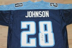 Autographed/Signed CHRIS JOHNSON Tennessee Dark Blue Football Jersey, Reebok XL in Chicago, Illinois