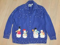 Storybook Knit Applique Sparking Snowmen Cardigan Sweater, Large in Chicago, Illinois