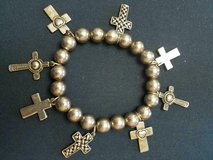 Vintage Silver Tone Beaded Cross Charm Bracelet!  8 Cross Charms  Signed  M J in Bellaire, Texas