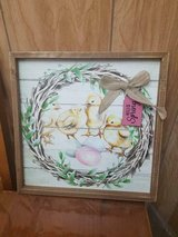 """Wooden Framed Picture Wall Hanging of Baby Chicks! Tag says: 'SPRING'  13"""" x 13"""" in Spring, Texas"""