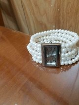 AVON Multi Row Pearlesque Stretch Watch - Faux White Pearls!  Working! in Bellaire, Texas