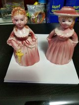 Vintage Girls Salt &  Pepper Shaker Set With Stoppers!  Couple of small chips!  Cute in Bellaire, Texas