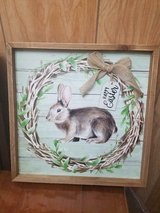 """Wooden Frame Rabbit Bunny Picture Wall Hanging! Tag says: 'Happy Easter'  13"""" x13"""" in Bellaire, Texas"""