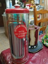 New Old Stock COCA COLA Tin Straw Dispenser! Includes 50 New Straws Sealed in Plastic! in Bellaire, Texas