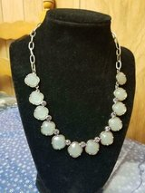 """LIA SOPHIA Light Green Statement Silver Tone Necklace! SIGNED   19"""" Long in Bellaire, Texas"""