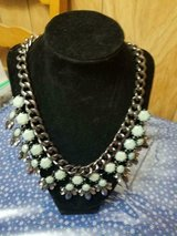 """Large Link Chain Green and Clear Rhinestones Statement Necklace!  20"""" long in Bellaire, Texas"""