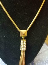 """Long Dressy Goldtone and Clear Crystal Necklace! Signed NY 20"""" Long in Bellaire, Texas"""