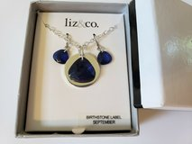 BIRTHSTONE NECKLACE & EARRING SET * LIZ & CO SEPTEMBER  (NEW IN BOX) in Glendale Heights, Illinois