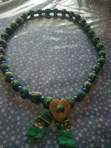 Long Handmade Necklace with Southwestern Fabric Covered Beads w/ Heart Shape Pendant! in Bellaire, Texas