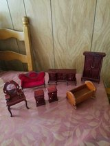 Used Wood Doll Furniture for a Doll Large Doll House! 6 pcs plus a baby cradle! in Spring, Texas