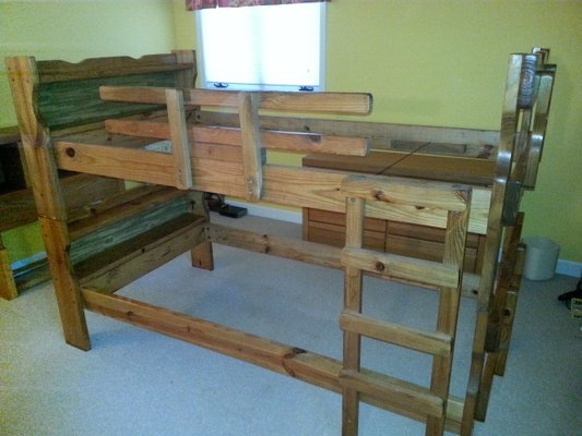 Bunk bed twin frame bedroom for sale on wilmington yard for Bunk bed frames for sale