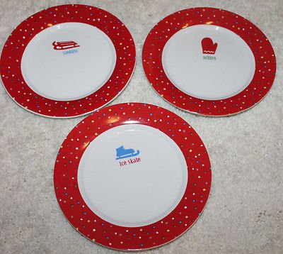 Set Of 3 Decorative Winter Plates Red White Mitten Sleddin Apos