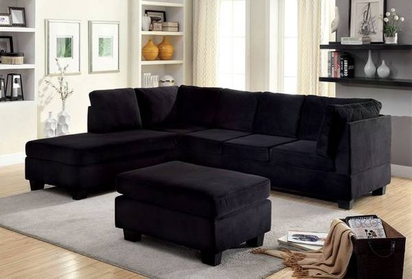 New Black Flannelette Fabric Sectional Sofa FREE DELIVERY In Camp Pendleton