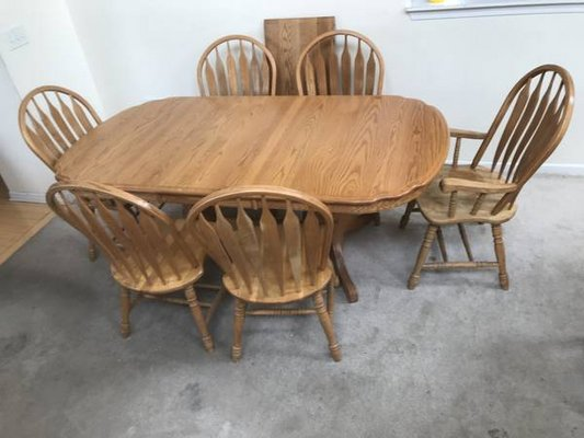 7pc Oak Dining Table Set With Leaf By A American Furniture In Joliet