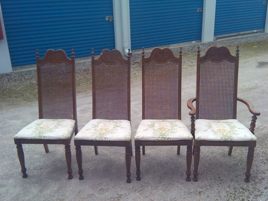 4 all wood matching chairs furniture home for sale on for Furniture yard sale